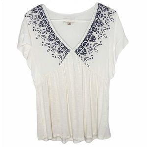 Knox Rose White & Blue Embroidered Top